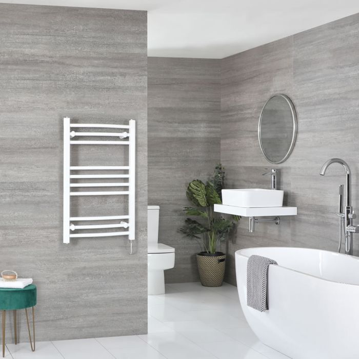 Milano Ive Electric - Curved White Heated Towel Rail 800mm x 500mm