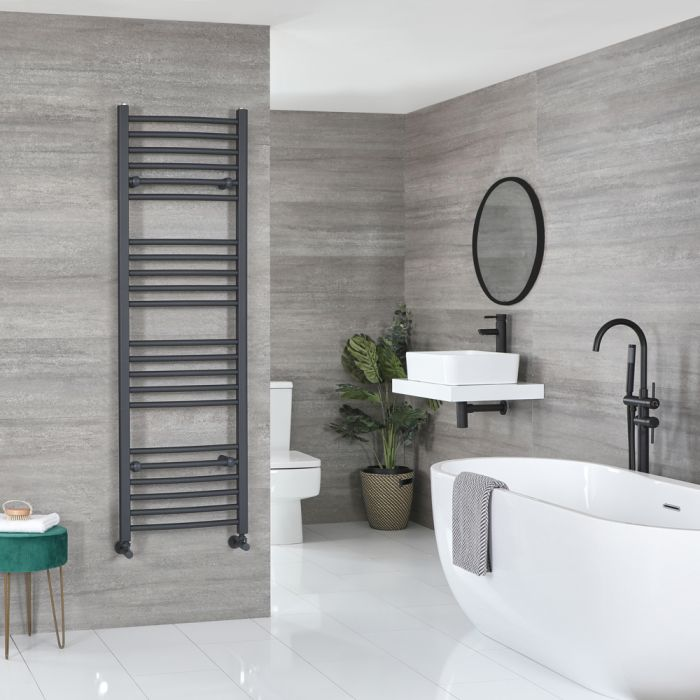Milano Artle - Curved Anthracite Heated Towel Rail 1600mm x 500mm