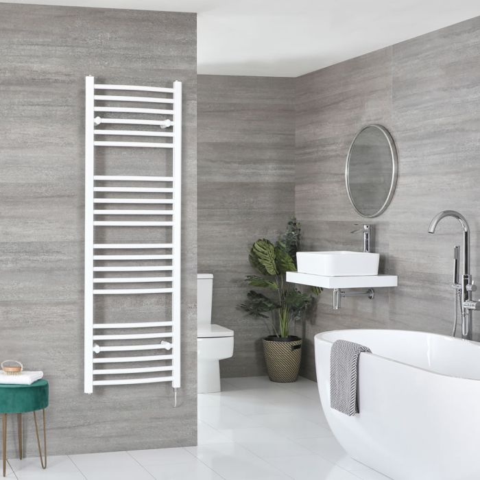Milano Ive Electric - Curved White Heated Towel Rail 1600mm x 500mm