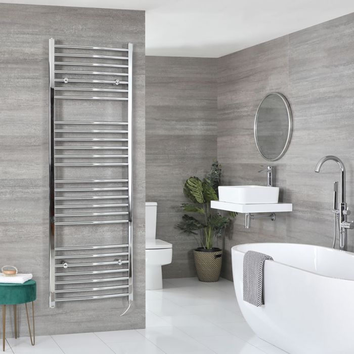 Milano Kent Electric - Curved Chrome Heated Towel Rail 1800mm x 500mm