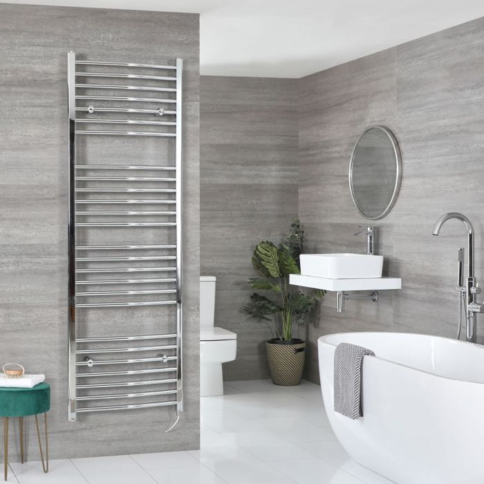 Milano Kent Electric - Curved Chrome Heated Towel Rail 1800mm x 600mm