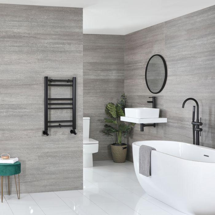 Milano Nero - Flat Matt Black Heated Towel Rail 600mm x 400mm