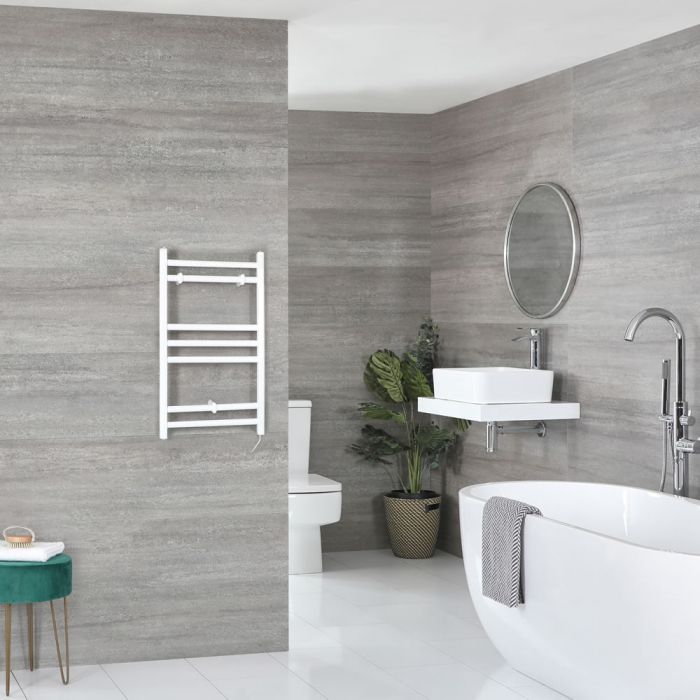 Milano Ive Electric - Flat White Heated Towel Rail 600mm x 400mm