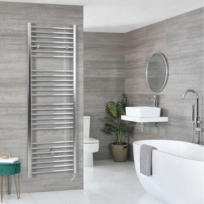 Milano Kent Electric - Flat Chrome Heated Towel Rail 1800mm x 500mm