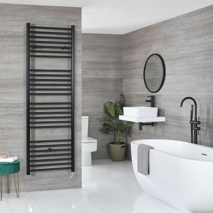 Milano Nero Electric - Flat Matt Black Heated Towel Rail 1800mm x 500mm
