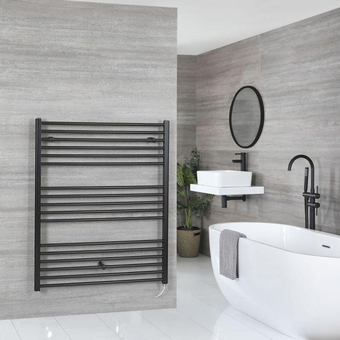 Milano Nero Electric - Flat Matt Black Heated Towel Rail 1200mm x 1000mm