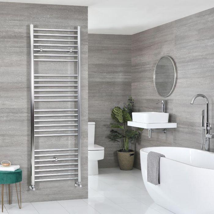 Milano Kent - Flat Chrome Heated Towel Rail - Various Sizes