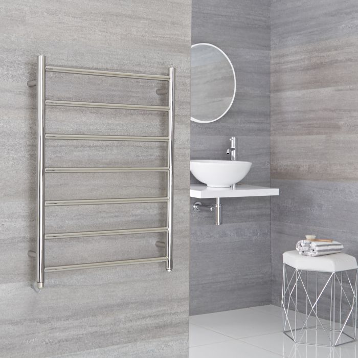 Milano Esk Electric- Electric Stainless Steel Flat Heated Towel Rail - 600mm x 800mm