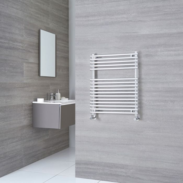 Kudox - Flat Chrome Bar on Bar Heated Towel Rail 750mm x 450mm