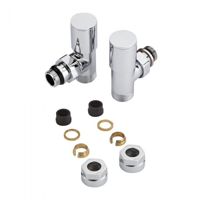 Chrome Radiator Valves with 15mm Copper Adapters