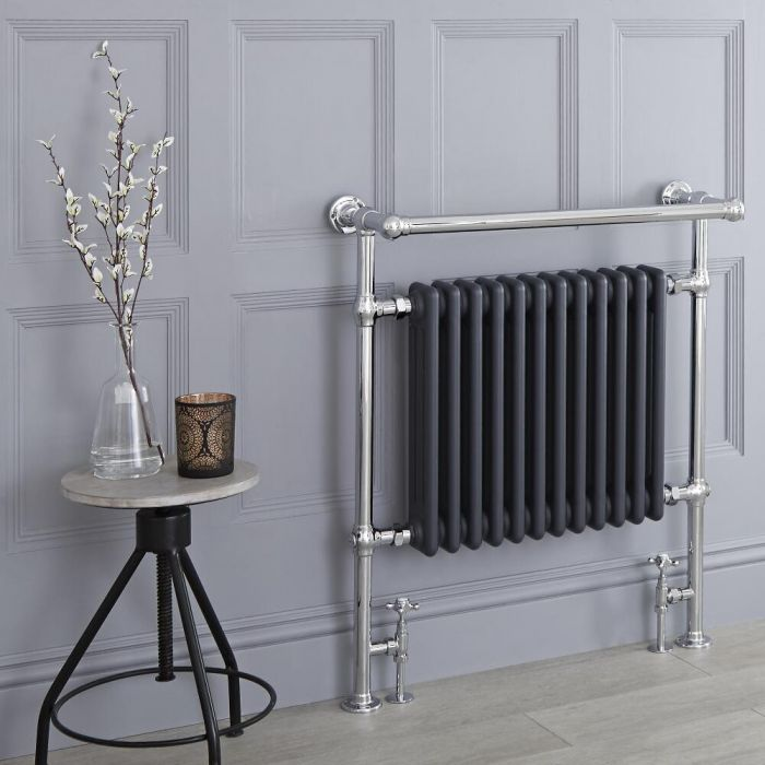 Milano Elizabeth - Anthracite Traditional Heated Towel Rail - 930mm x 790mm (With Overhanging Rail)