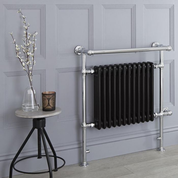 Milano Elizabeth - Black Traditional Electric Heated Towel Rail - 930mm x 790mm (With Overhanging Rail)