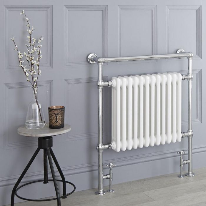 Milano Elizabeth - White Traditional Heated Towel Rail - 930mm x 790mm