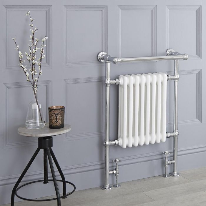 Milano Elizabeth - White Traditional Heated Towel Rail - 930mm x 620mm (With Overhanging Rail)