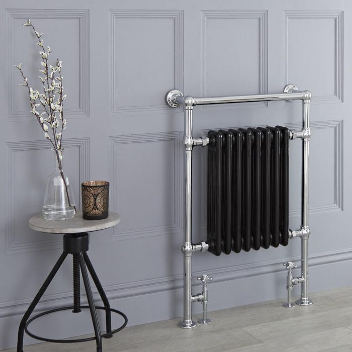 Milano Elizabeth - Black Traditional Heated Towel Rail - 930mm x 620mm (Flat Top Rail)