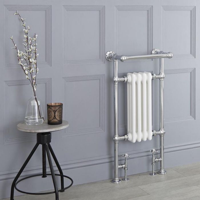 Milano Elizabeth - White Traditional Heated Towel Rail - 930mm x 452mm (With Overhanging Rail)