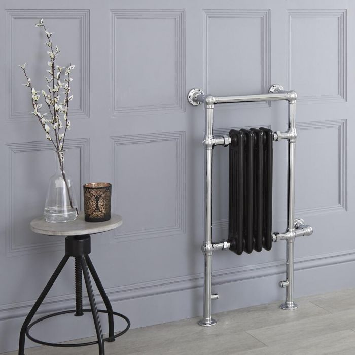 Milano Elizabeth - Black Traditional Electric Heated Towel Rail - 930mm x 450mm (Flat Top Rail)