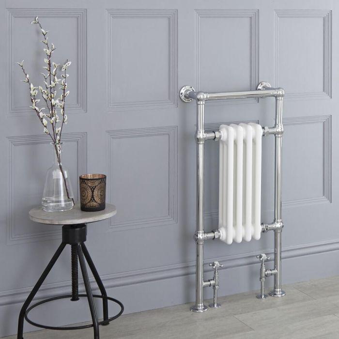 Milano Elizabeth - White Traditional Heated Towel Rail - 930mm x 450mm (Flat Top Rail)