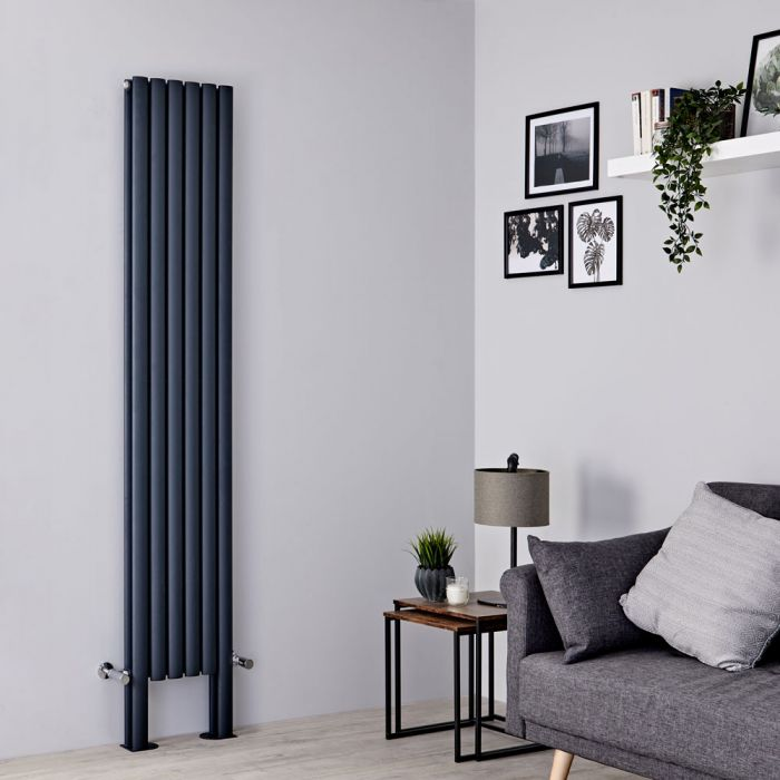 Milano Aruba Plus - Anthracite Vertical Designer Radiator with Feet 2000mm x 354mm (Double Panel)