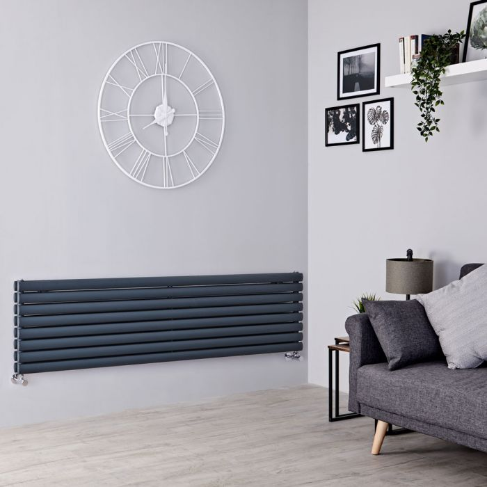 Milano Aruba - Anthracite Horizontal Designer Double Radiator 472mm x 1780mm
