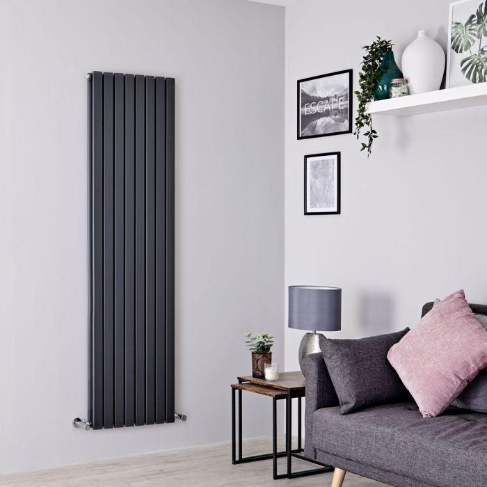 Milano Capri - Anthracite Flat Double Panel Designer Vertical Radiator 1780mm x 472mm