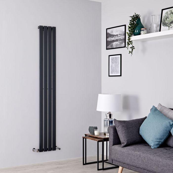 Milano Alpha - Anthracite Vertical Single Slim Panel Designer Radiator 1780mm x 280mm