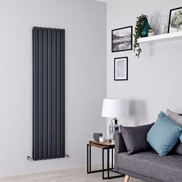 Milano Alpha - Anthracite Vertical Double Slim Panel Designer Radiator 1780mm x 490mm