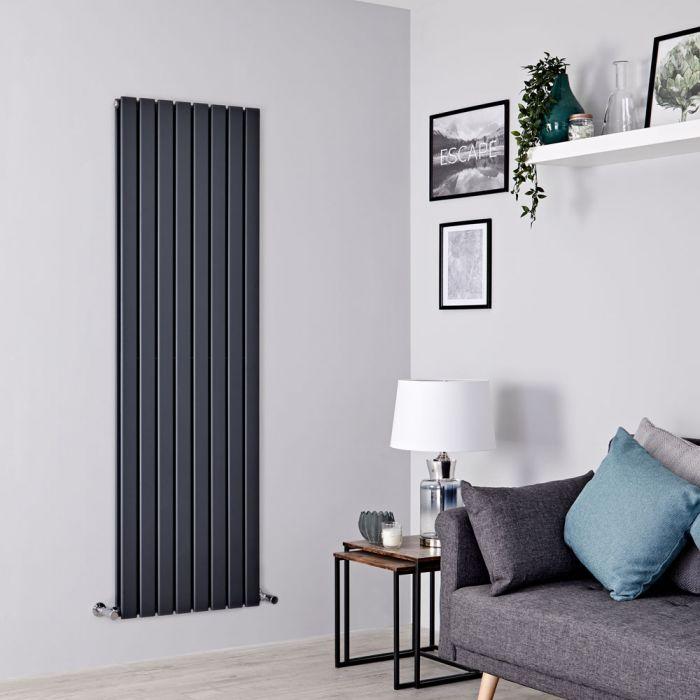 Milano Alpha - Anthracite Vertical Double Slim Panel Designer Radiator 1780mm x 560mm