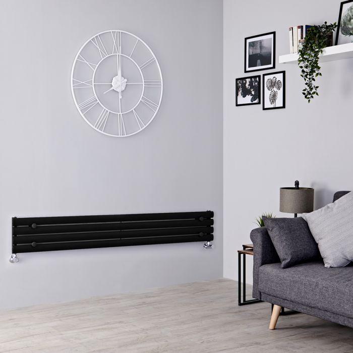 Milano Aruba - Black Horizontal Designer Radiator 236mm x 1780mm