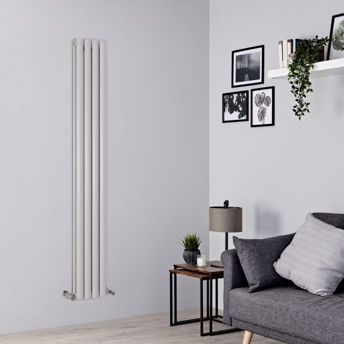Milano Aruba - Light Grey Vertical Designer Radiator 1780mm x 236mm (Double Panel)
