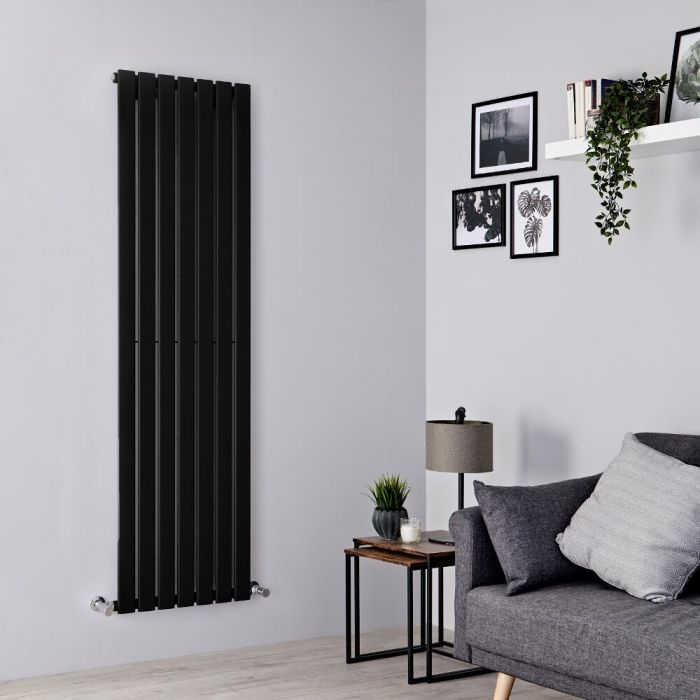 Milano Alpha - Black Vertical Single Designer Radiator 1780mm x 490mm