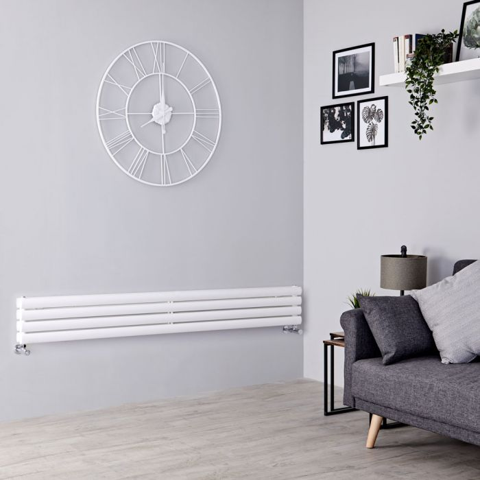 Milano Aruba - White Horizontal Designer Radiator 236mm x 1780mm (Double Panel)