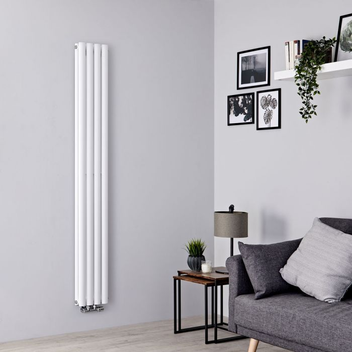 Milano Aruba Flow - White Vertical Double Panel Middle Connection Designer Radiator 1780mm x 236mm
