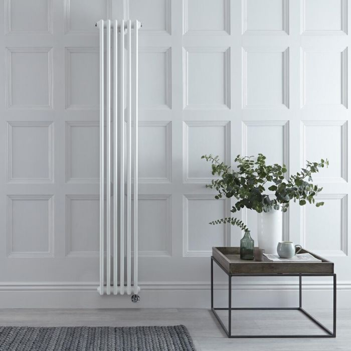 Milano Windsor - White Traditional Vertical Electric Triple Column Radiator - 1800mm x 290mm - Choice of Wi-Fi Thermostat