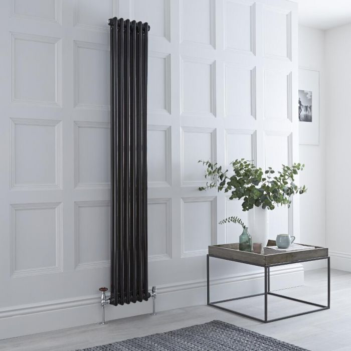 Milano Windsor - Vertical Double Column Black Traditional Cast Iron Style Radiator - 1800mm x 290mm
