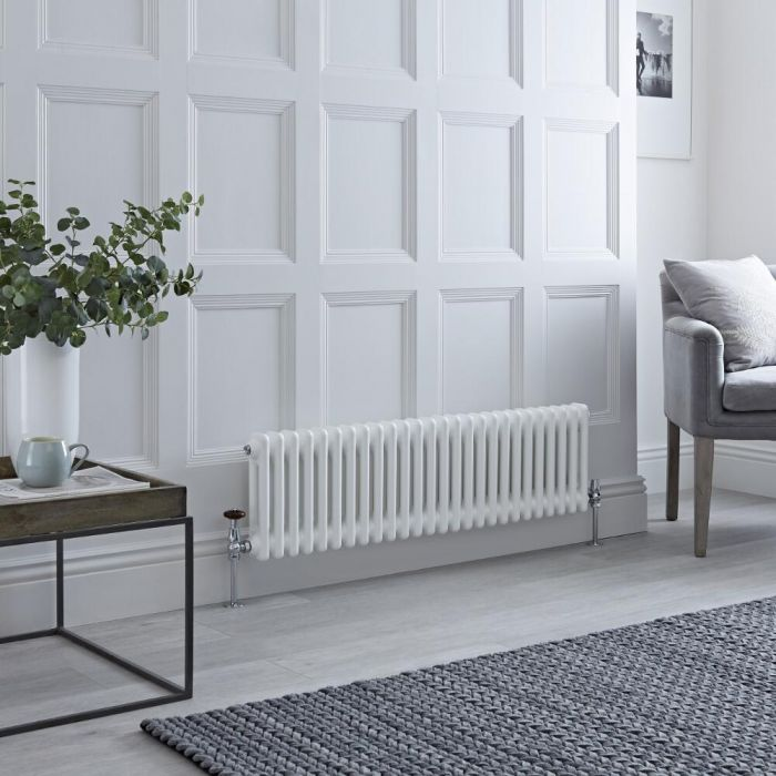 Milano Windsor - Horizontal Double Column White Traditional Cast Iron Style Radiator - 300mm x 1190mm