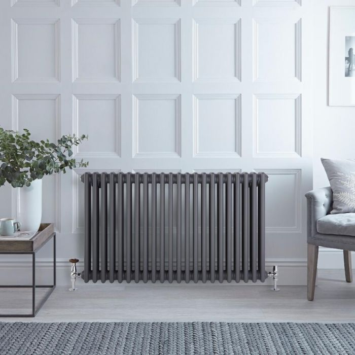 Milano Windsor - Horizontal Triple Column Anthracite Traditional Cast Iron Style Radiator - 600mm x 1010mm