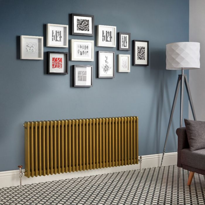 Milano Windsor - Metallic Gold Horizontal Traditional Column Radiator (Triple Column) - Various Sizes