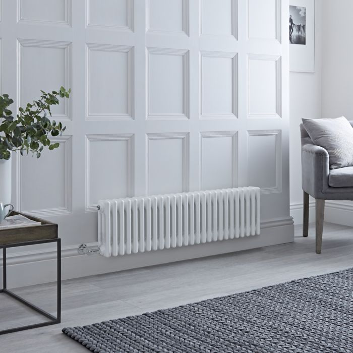 Milano Windsor - Traditional 3 Column Electric Radiator - Cast Iron Style - White - 300mm x 1190mm - Choice of Wi-Fi Thermostat