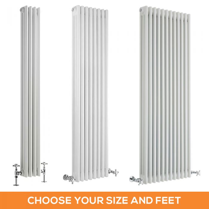 Milano Windsor - White Traditional Vertical Triple Column Radiator - Choice of Size and Feet