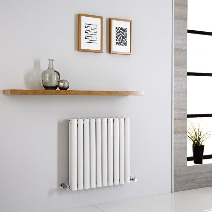 Milano Aruba - Modern White Horizontal Designer Radiator 600mm x 595mm (Double Panel)