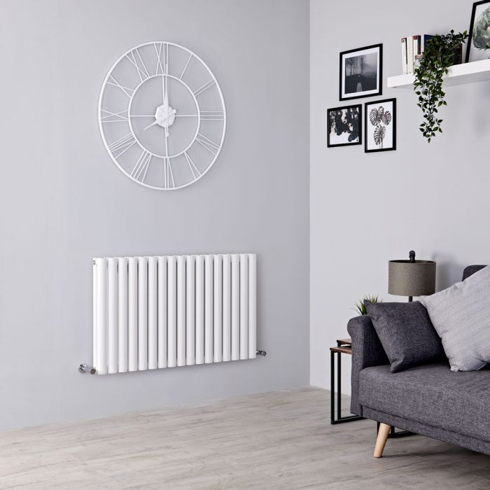 Milano Aruba - Modern White Horizontal Designer Radiator 601mm x 1000mm (Double Panel)