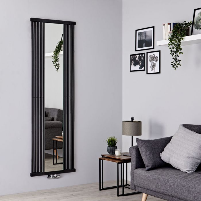 Terma Intra - Black Vertical Designer Radiator With Mirror 1900mm x 640mm