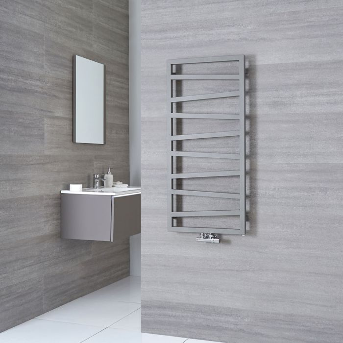 Terma ZigZag - Silver Vertical Heated Towel Rail 1070mm x 500mm