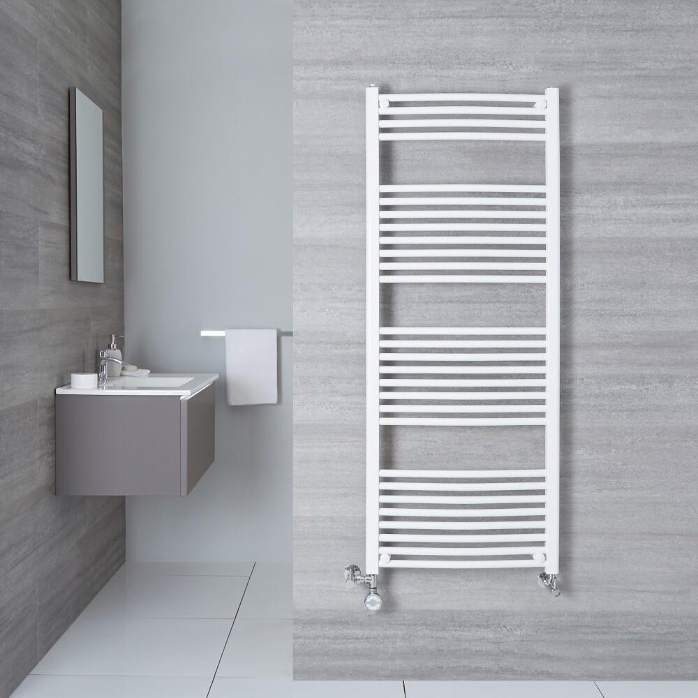 Milano Calder Dual Fuel - White Curved Heated Towel Rail 500mm x 1500mm