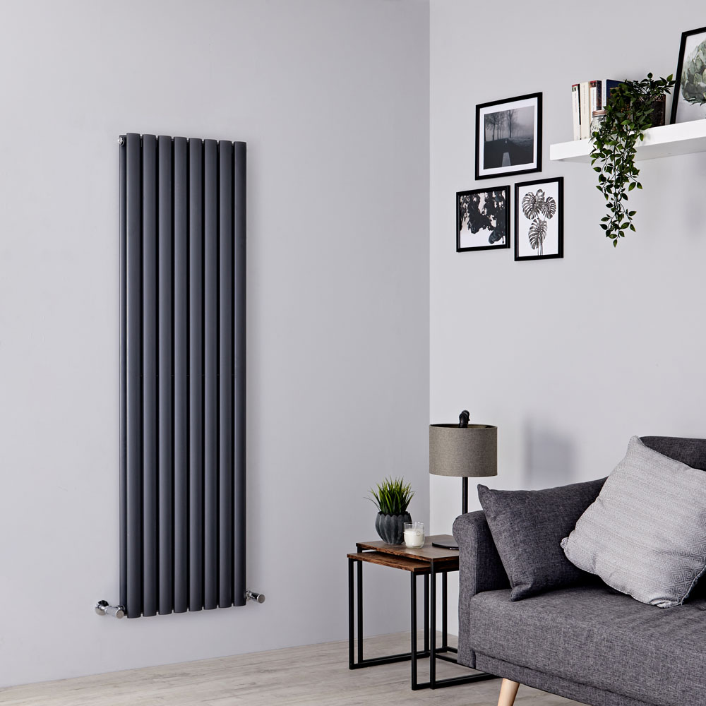 Milano Aruba - Anthracite Grey Vertical Designer Radiator 1600mm x 472mm (Double Panel)