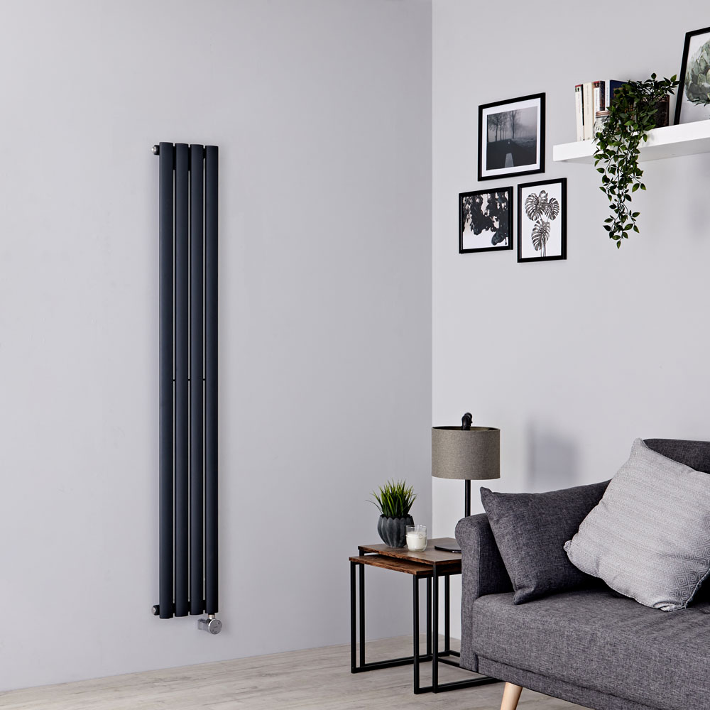 Milano Aruba Slim Electric - Anthracite Space-Saving Vertical Designer Radiator 1600mm x 236mm