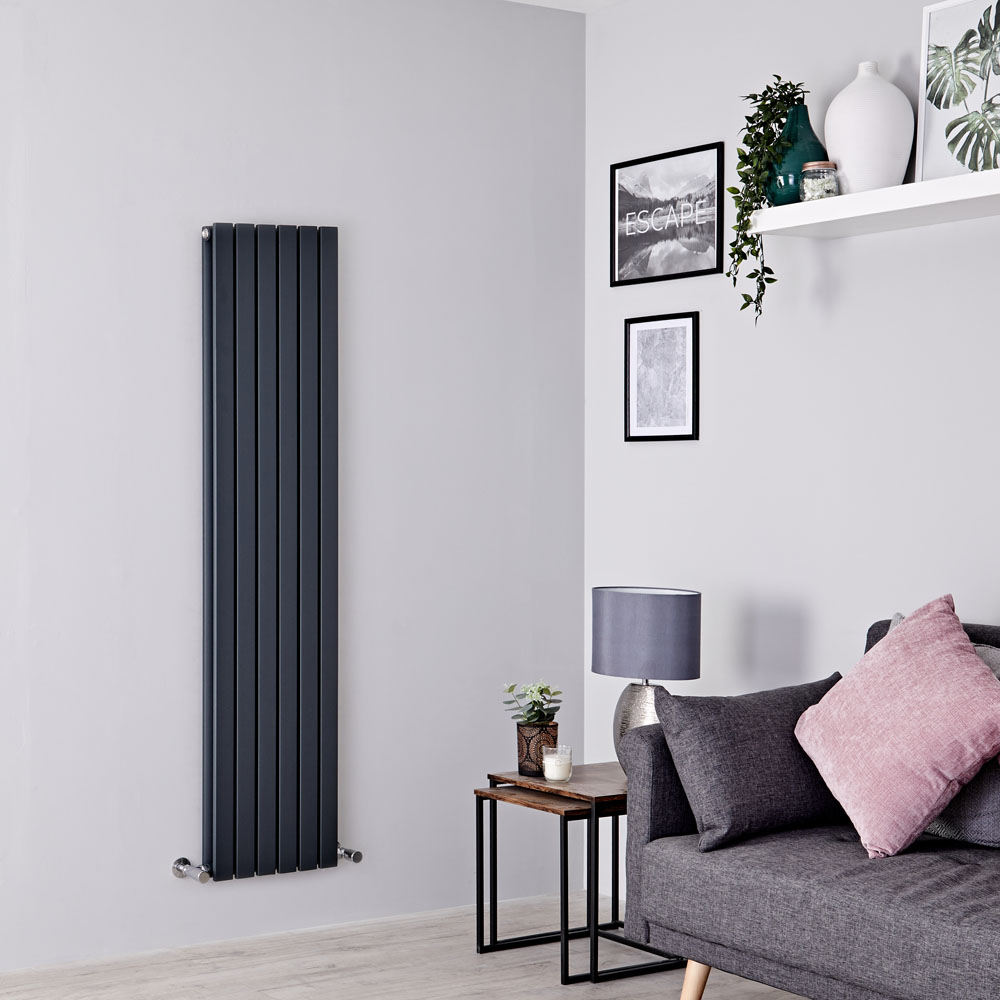 Milano Capri - Anthracite Flat Vertical Designer Radiator 1600mm x 354mm (Double Panel)