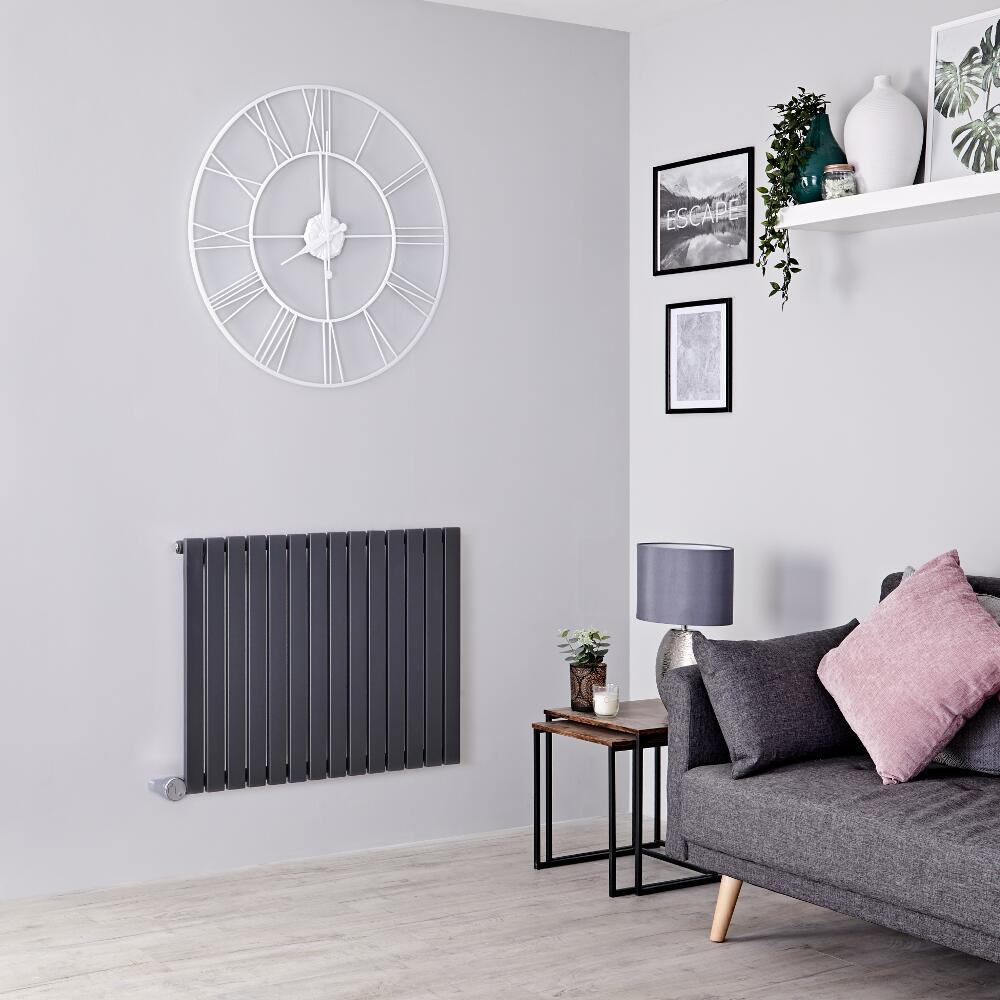 Milano Capri Electric - Anthracite Horizontal Flat Panel Designer Radiator 635mm x 834mm