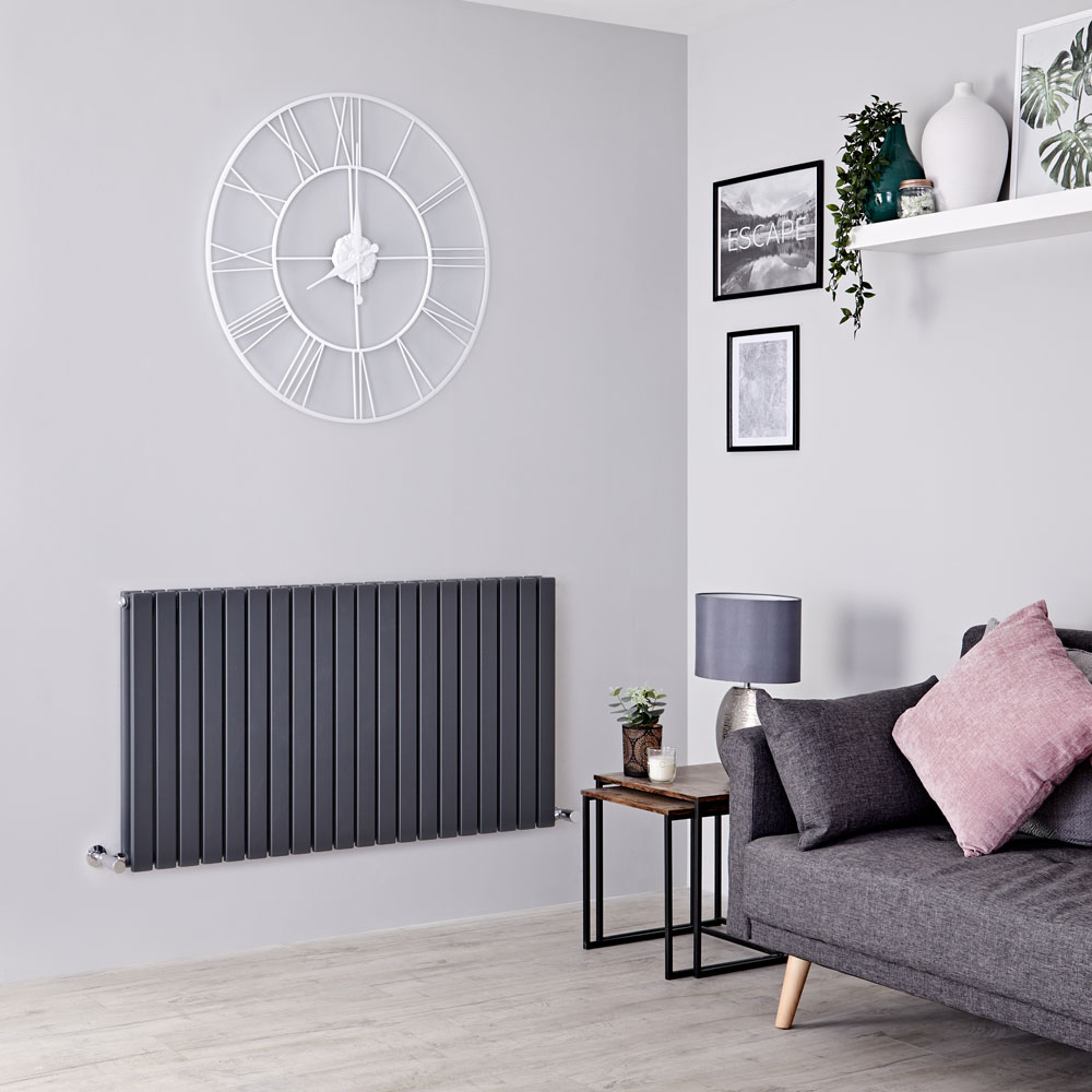 Milano Capri - Anthracite Horizontal Flat Panel Designer Radiator 635mm x 1200mm (Double Panel)